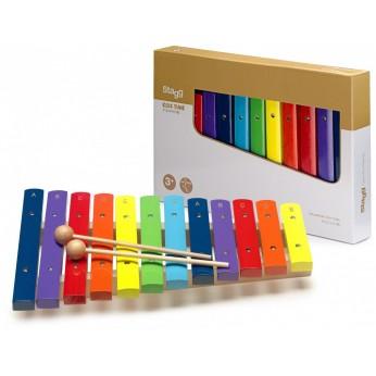 Ksilofonas 12 natų medinis spalvotas Stagg