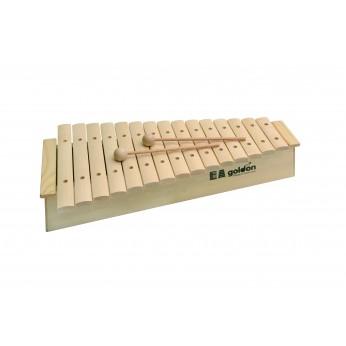 Ksilofonas 15 natų medinis natūralus 11220 su rezonansine dėže Goldon